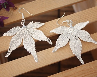 Silver Leaf Earrings Medium, Real Japanese Maple Leaf Pendant Size Sterling Silver Earrings, LEP34