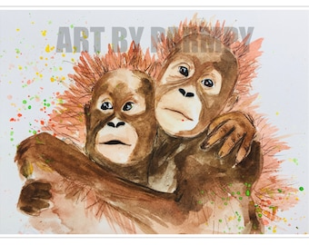 Colourful Orangutan Watercolour Print Home Decor A4 A3 Wall Art Painting