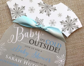Baby Its Cold Outside Invitation, Onesie Invitation, Snowflake Baby Shower invitation, Blue Baby Shower Invitation, Baby Boy Shower Invite