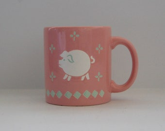 Vintage Waechtersbach Mug, Pink Pig Mug, West Germany