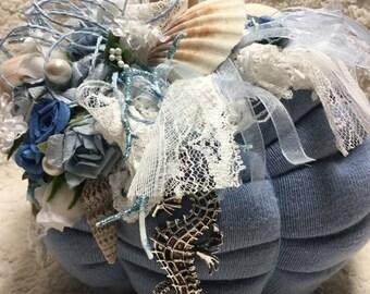 1 Ocean Blue Beachy themed Sweater Pumpkin~ BEAUTIFUL