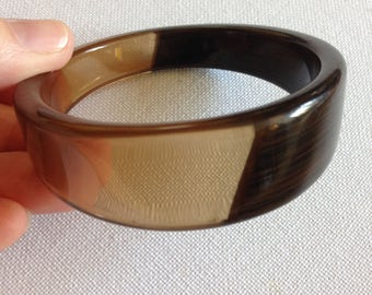 Bangle - Chunky funky clear lucite plastic bangle with half wood effect