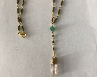 Hematite and crystal point lariat necklace