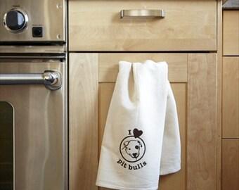 I Love Pit Bulls Tea Towel