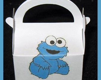 cookie monster party favor box, cookie monster birthday favor box,cookie monster theme box,