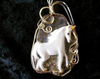 Wire Wrapped Unicorn Pendant, Polymer & Stone