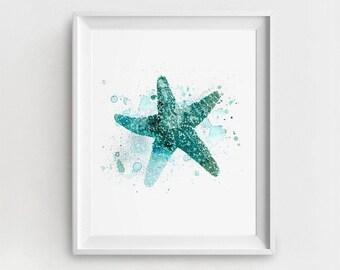 Starfish Art Print, Printable Starfish, Digital Nautical Art, Starfish Painting, Turquoise Starfish, Watercolor Starfish, DIY Wall Decor