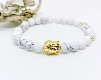 Mala Beads Bracelet, Buddha Bracelet, Yoga Bracelet, Wrist Mala, Howlite bracelet, White beaded bracelet, Gift for Her, Yoga Gift, Mala