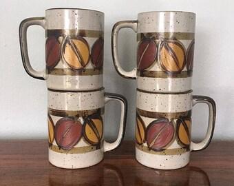 Set of 4 Stoneware Mugs
