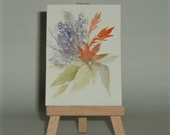 aceo atc floral art painting (ref E192)