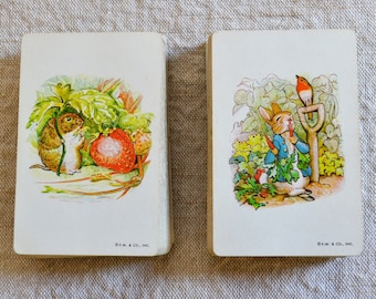 Beatrix Potter Playing Cards Double Deck Peter Rabbit Tommy Tiptoes Vintage Playing Cards Stancraft Plastic Coated Cards Complete Decks