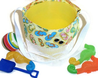 Toy Bag, Mesh Beach or Pool Tote Bag, Sand Beach Bag, Cross Body or Shoulder Bag, Yellow Flip Flops Bag, Beach Vacation Bag, Gift For Girls