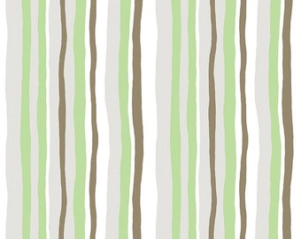 Green Stripe Organic Fabric, Clothworks Woodland Gathering Y2064-23 Organic Cotton, Betsy Olmstead, Green & Brown Striped Quilt Fabric