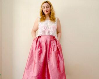 Rose Pink Maxi Skirt, Strawberry Milkshake Statement Skirt Silk Shantung Pleats Pockets, Prom Skirt, Customize color and length, Plus sizes