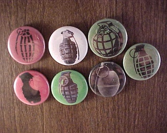 Repurposed Grenade Pin Back Button Refrigerator Magnets