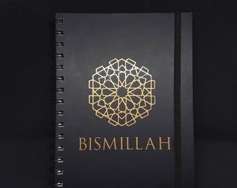 Black A5 Hardback Lined Islamic Notebook with Copper accents