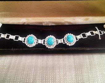 Silver Turquoise Bead Bracelet 3 Stone