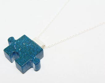 Autism Awareness Jewelry Resin Puzzle Piece Resin Pendant - Blue Spheres - 22 Inch Sterling Silver Necklace