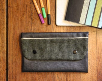Black faux leather flap / upcycled pouch / clutch handbag lain /upcycling