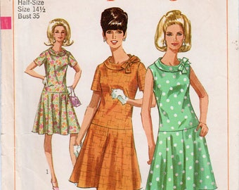 "1960s Dress Pattern Drop Waist Dress Roll Collar Dress SIMPLICITY 6985 bust 35"" Retro Dress Pattern Bow Neck Dress Flared Skirt Dress"