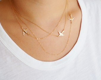 Mothers Day Gift, Flying Birds Necklace, Three Layered Necklace, Available in Sterling Silver, Gold Filled and Rose Gold Vermeil