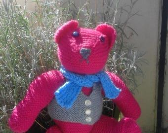 handmade knit Teddy bear, color pink, grey, blue. decorative, very soft doudoud or