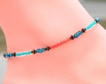 Blue ankle jewelry, custom anklet, gift for mom, mothers day gift