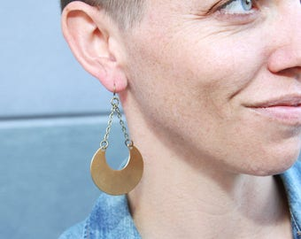 Half Moon Dangle Drop Earrings // Brass Moon Earrings // Large Dangle Earrings // Gift for Her // Festival Jewelry // Brass Boho Jewelry