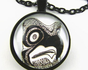Native American BIRD TOTEM necklace  First Nations Tribal art  Spiritual art  Pacific Northwest tribal art  Gift for him
