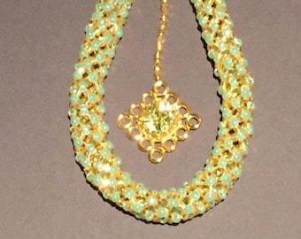 Peridot CZ & Gold Necklace