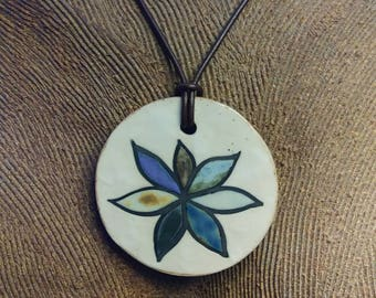 Hand Painted Succulent Flower Ceramic Pendant with Floral Woodcut Stamp Design on Reverse