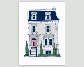 Montreal House in Grey/Pink – Limited Edition Screenprint