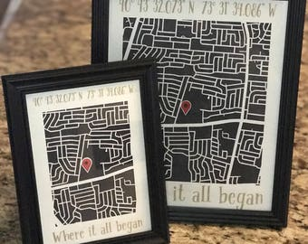 CUSTOM Paper Cut Map of YOUR Location - Home Sweet Home - Where We Met - Our First Date - Framed Map - Unique Gift - Where It All Began
