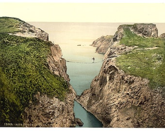 Rope Bridge, Carrick-a-Rede. County Antrim, Ireland] 1890. Vintage photo postcard reprint 8x10-up. Northern Ireland County Antrim