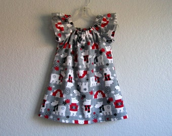 Little Girls Polar Bear Dress - Polar Bears in White and Red on Grey - Grey Flannel Flutter Sleeve Dress - Sizes 12m, 18m, 2T, 3T, 4T or 5
