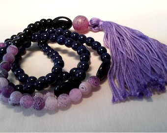 Mala from snakes agate, Onyx and Jasper with tassel gift idea