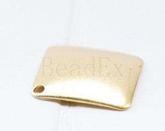 20 Pieces / Raw Brass / Pendant / Charm / Curved / Square 18mm (C1688//P320)