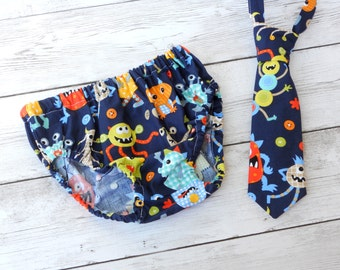 Monster 1st birthday outfit, baby boy bloomers, tie and diaper cover, monster boy birthday outfit, monster cake smash outfit, birthday set