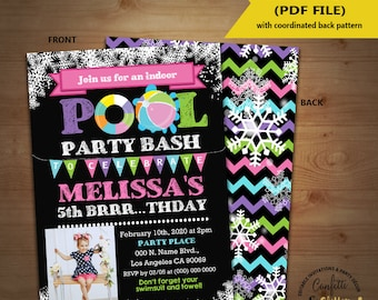 Pool birthday bash invitation winter indoor pool party chalkboard pink invite Instant Download YOU ADD Photo EDIT Text and Print invite 5996
