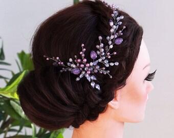 Violet Hair vine-Crystal Weddind Hair Comb- Bridal Hair Vine -Wedding hair piece-Bridal headpiece-Wedding hair vine-Rose gold Hair Vine