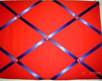 Red Memory Board French Memo Board, Fabric Ribbon Memo Bulletin Board, Fabric Ribbon Board, Ribbon Pin Board, Bedroom Decor