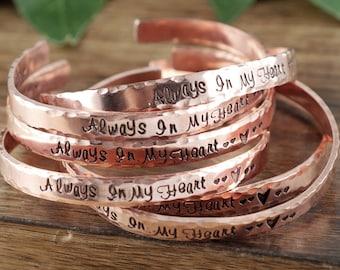 Personalized Memorial Bracelet, Always in my Heart Bracelet, Personalized Silver Cuff Bracelet, Sympathy Gift for Her, Memorial Jewelry