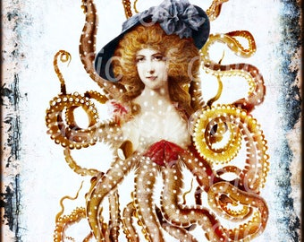 Lady Octopus  -   Digital  Collage