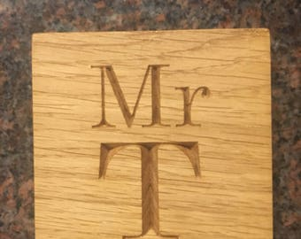 Personalised oak coasters-  your own words/name/date.Drinks coasters, wooden coaster, drink placements, bespoke coasters, engraved coaster,