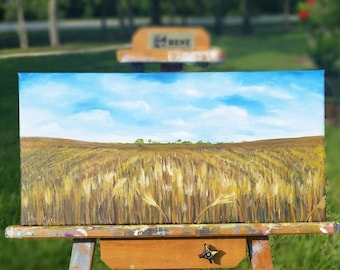 Wide Open Spaces, 20x10 Oil On Canvas, Wheat Field and Sky Landscape