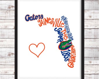 University of Florida Gators | Printable Art | College Student Gift | College Graduation | Dorm Room Decor | Wall Art | Wall Decor