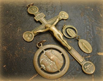 Antique Brass Crucifix + 3 Holy Medals Worn and Loved Crucifix is Marked SOUVENIR 4 Piece Antique Brass Religious Relics