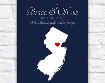 Custom Wedding Gift  Map - New Jersey, Engagement, Summer Wedding, Nautical Blue, Red, New Brunswick, Newark, Jersey Shore, Family