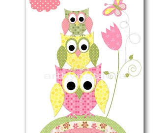 Owl Decor Owl Nursery Baby Girl Nursery Art Decor Nursery Wall Art Baby Nursery Decor Kids Room Decor Kids Art Girl Print Rose Yellow