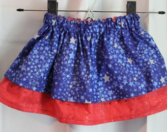 Sparkly red, white and blue infant/toddler skirt